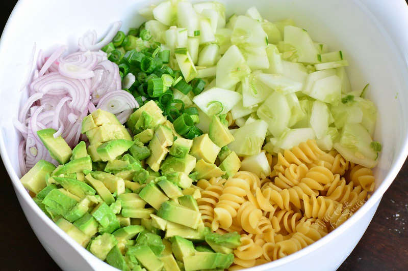 Ingredients in avocado pasta salad