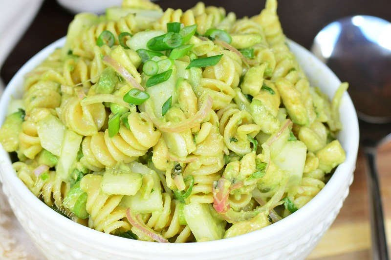 Cucumber Pasta Salad in a bowl