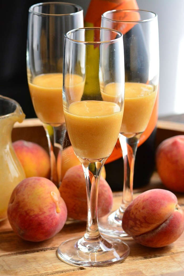 Making Peach Bellini