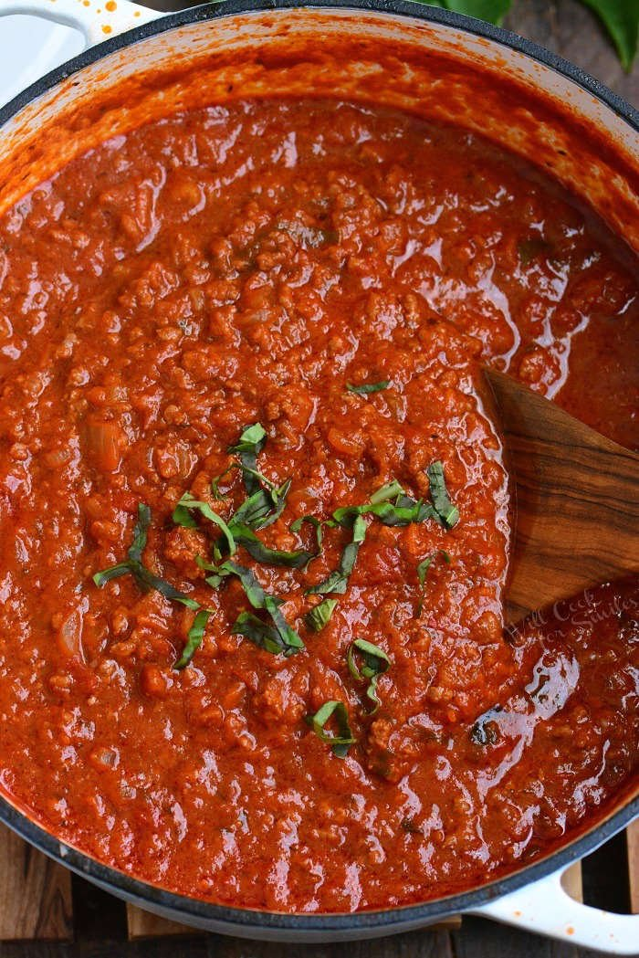 Homemade Bolognese Sauce recipe. Bolognese Sauce is a meat based Italian sauce made with vegetables, wine, milk, beef and pork.