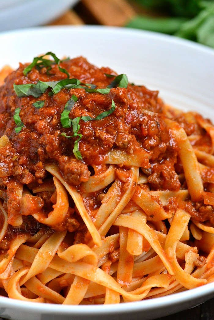 Classic Bolognese Sauce. Bolognese Sauce is a meat based Italian sauce made with vegetables, wine, milk, beef and pork.