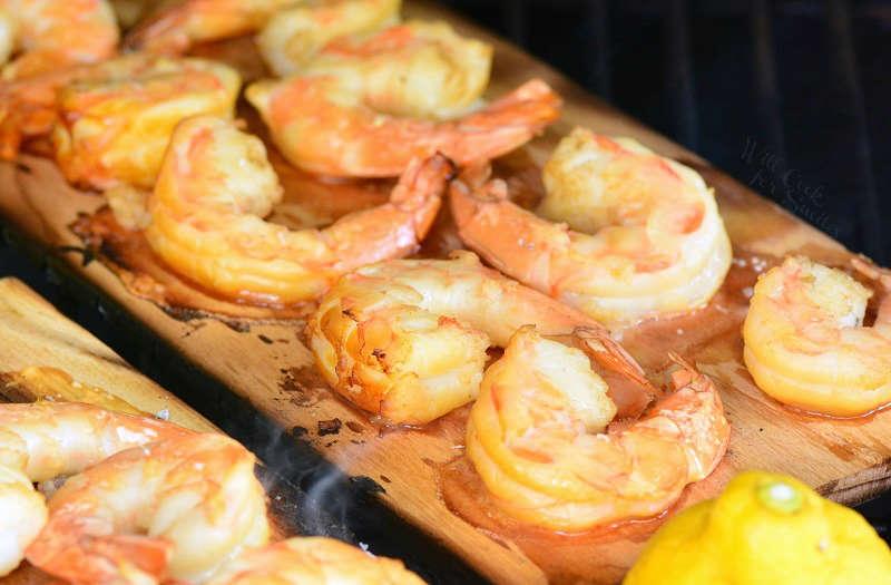Shrimp grilled on cedar planks