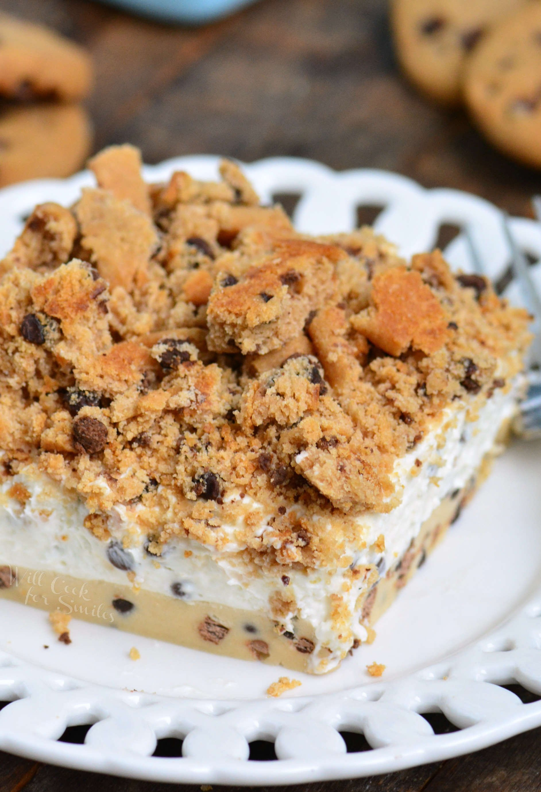 Cookie Dough No Bake Cheesecake on a plate