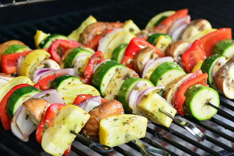 Cook vegetable skewers on the grill for about 20 minutes