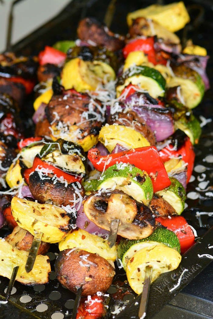 Easy Italian Grilled Vegetables on a grill tray