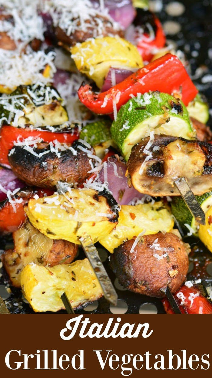 Grilled Vegetable kebabs topped with grated Parmesan