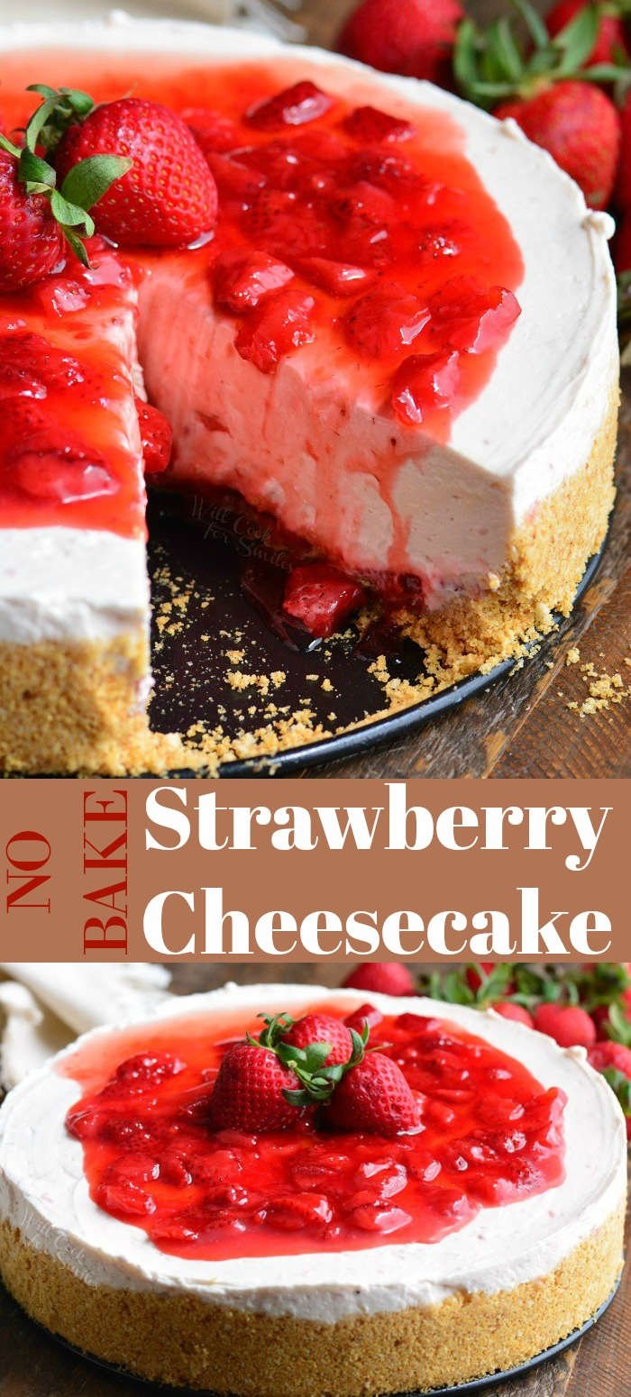 Collage of No Bake Strawberry Cheesecake