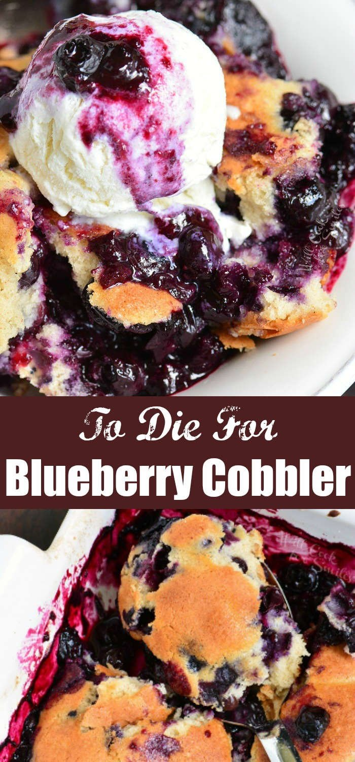 blueberry cobbler collage