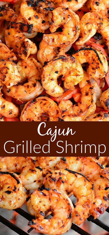 Cajun grilled shrimp collage