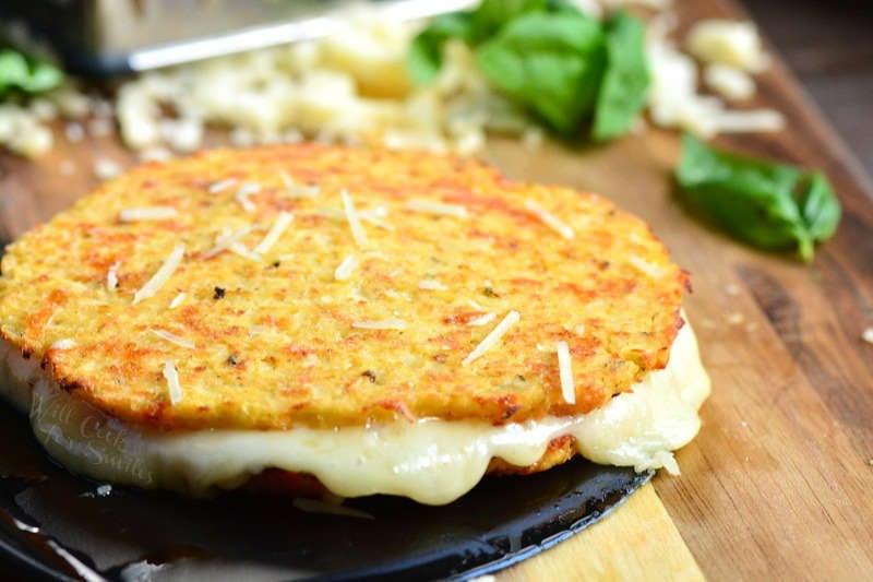 Cauliflower grilled cheese on a wood cutting board