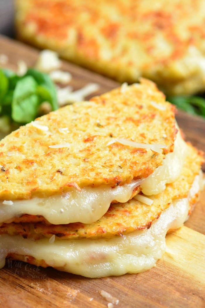 Cauliflower grilled cheese sliced