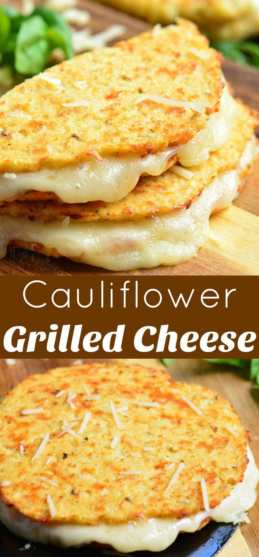 cauliflower grilled cheese collage