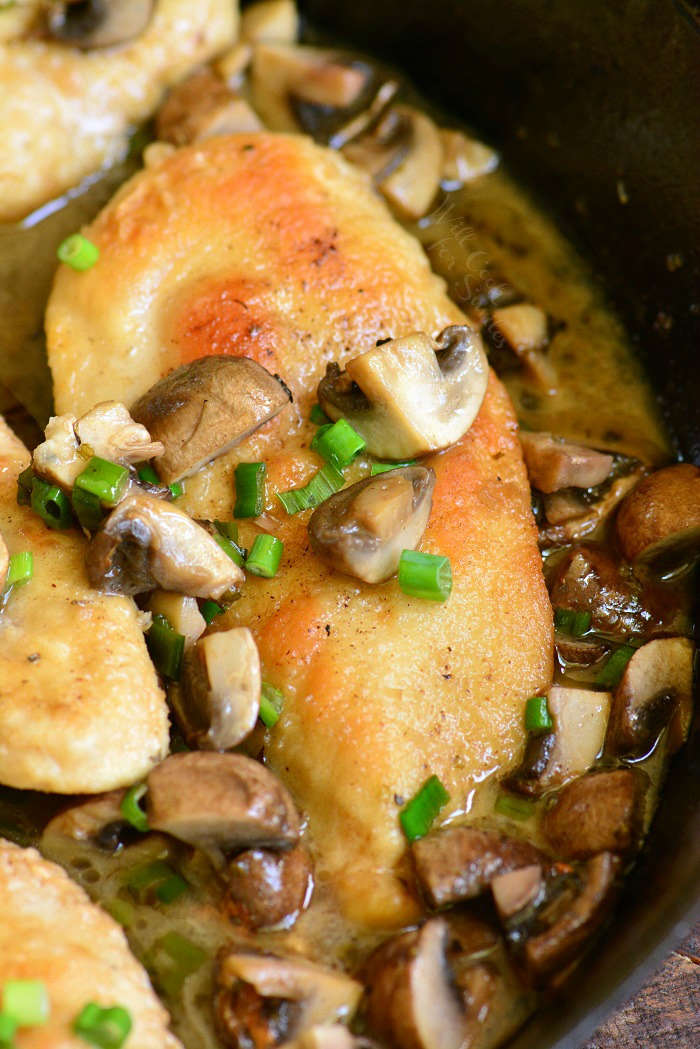 Easy Chicken Marsala in a cast iron skillet