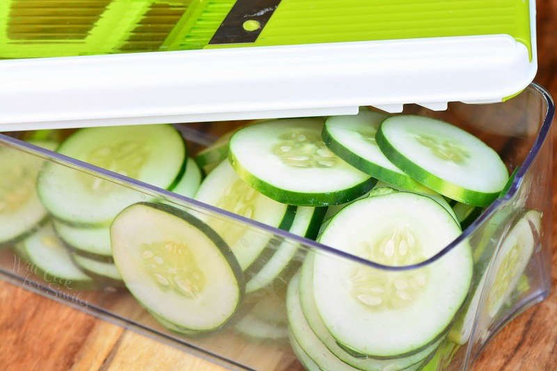 slice cucumbers with a mandoline