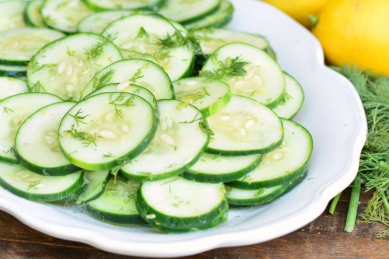 Dill Cucumber Salad on a serving plate