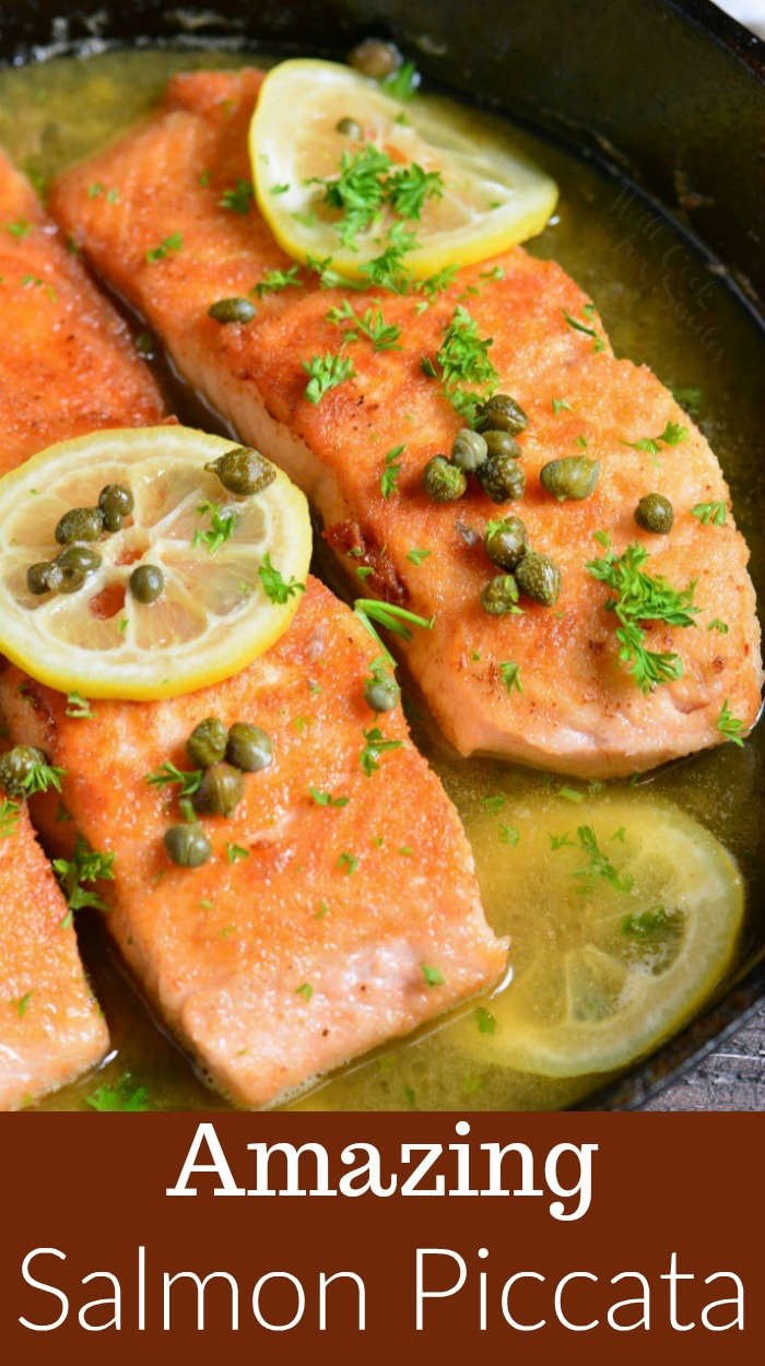 Salmon Piccata in a cast iron pan