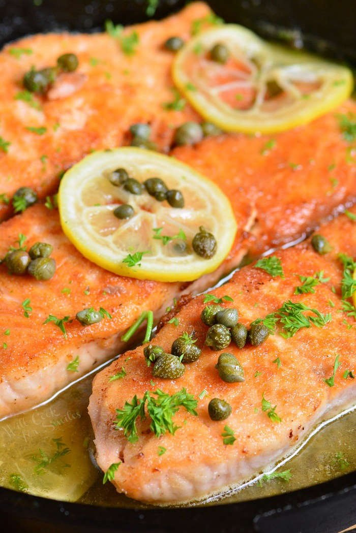 Salmon piccata on stovetop
