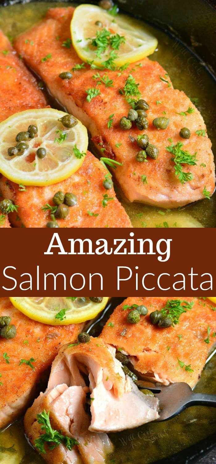 Salmon piccata collage