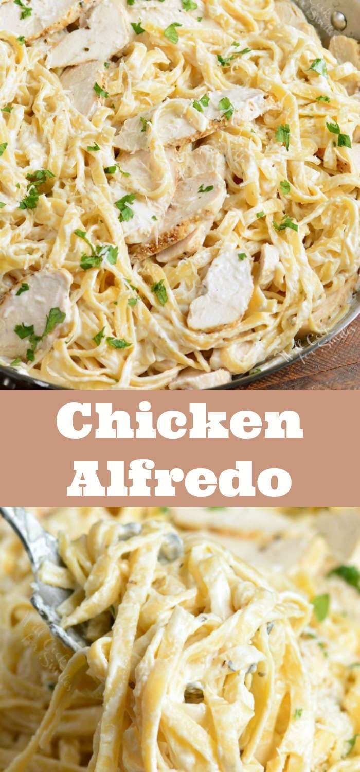 chicken alfredo collage