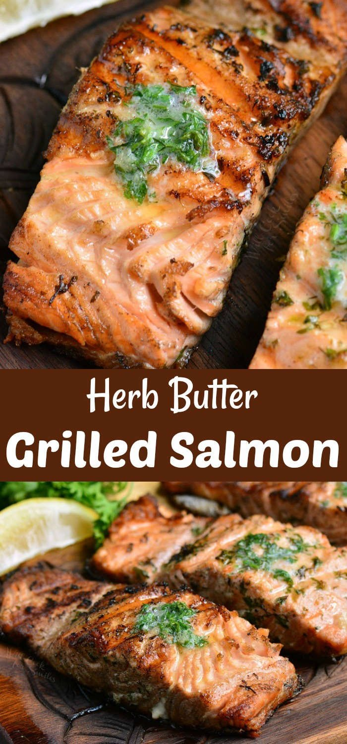 grilled salmon collage