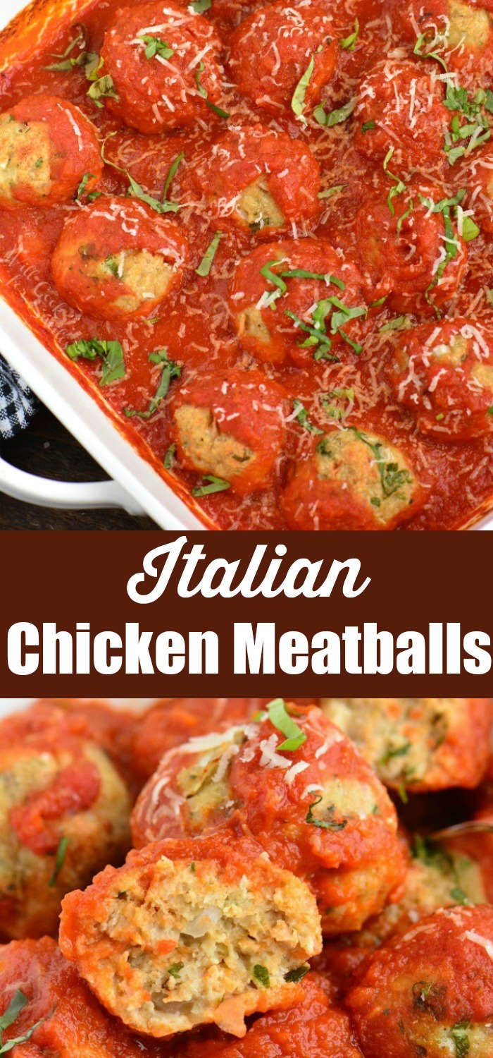 Italian Chicken Meatballs collage