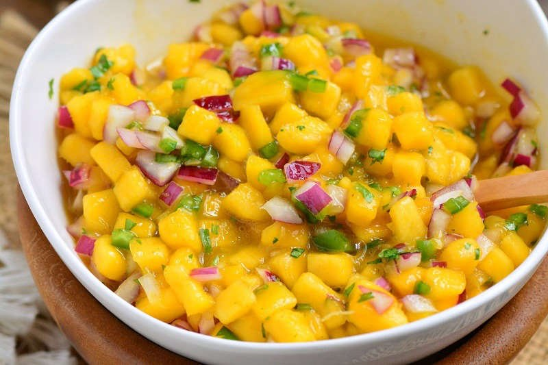 spicy mango salsa in a bowl