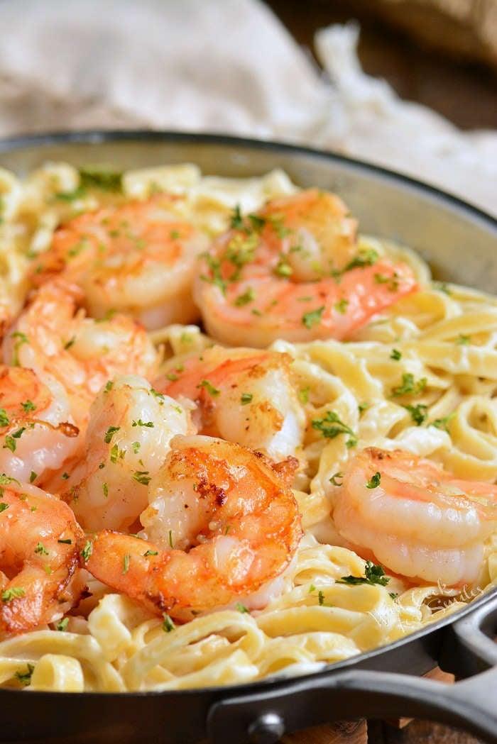 Easy shrimp alfredo in a pot