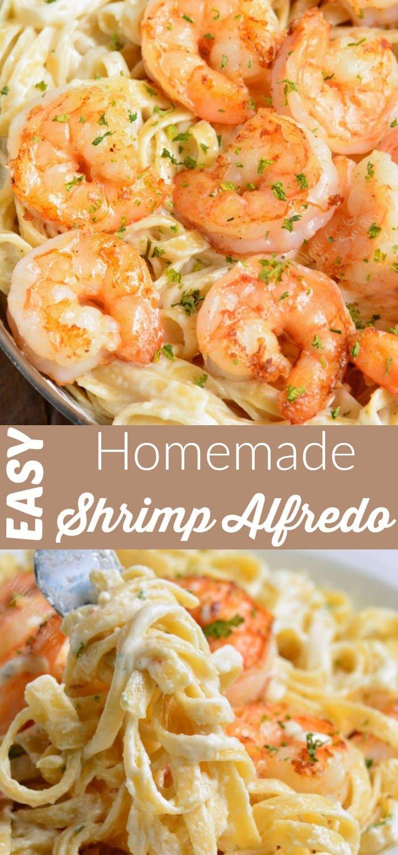 shrimp Alfredo collage