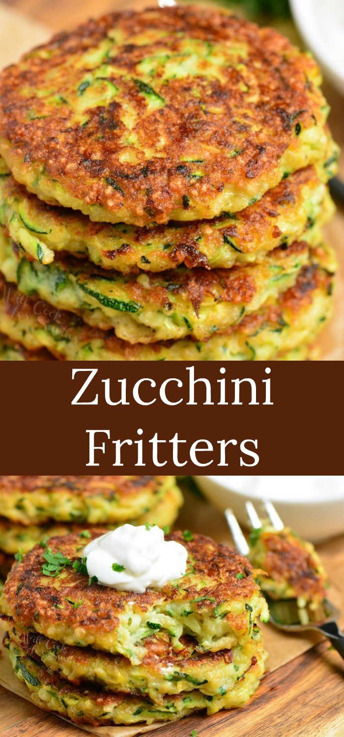 zucchini fritters collage