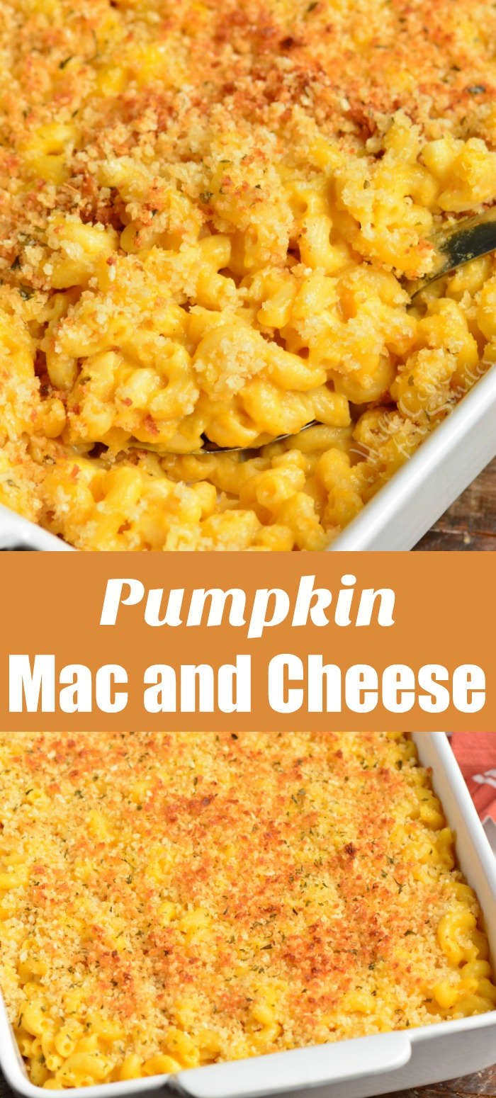 pumpkin mac and cheese collage