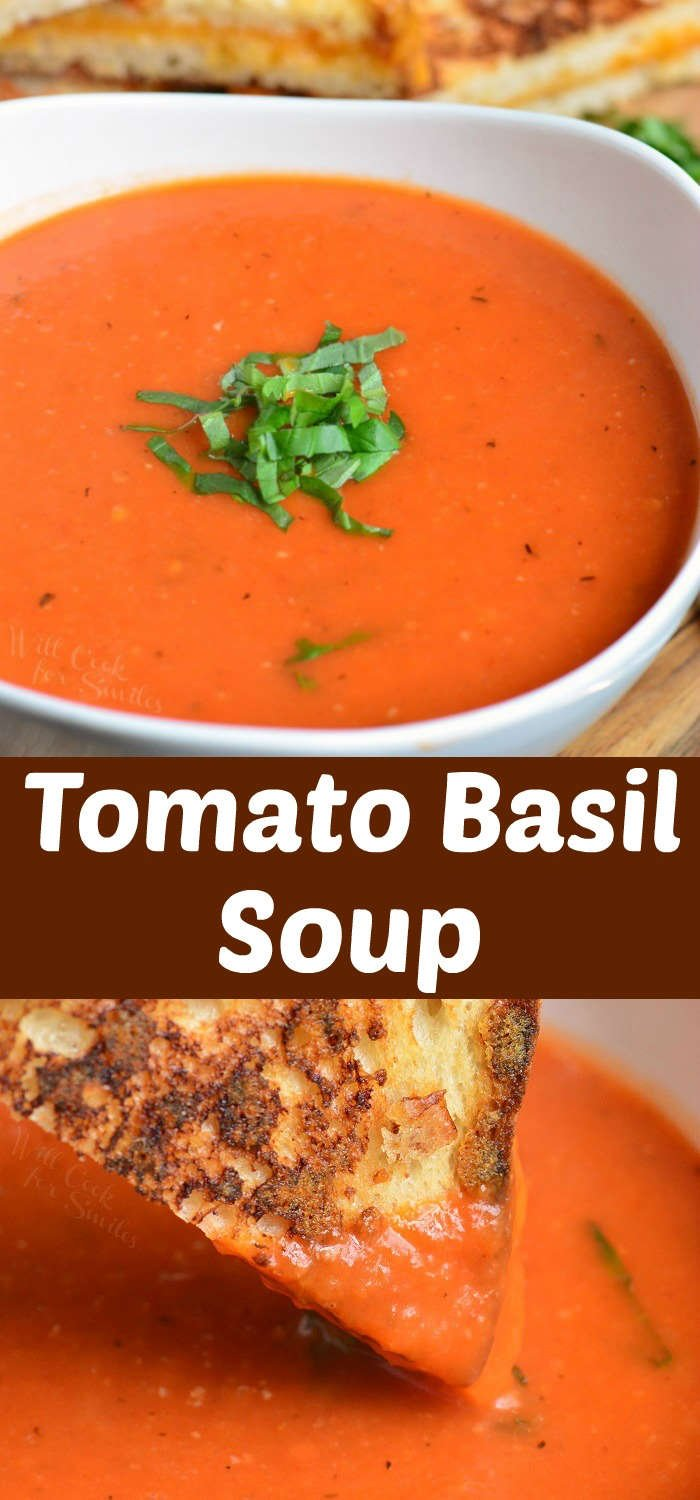 collage of two images of tomato basil soup in a bowl on top and dipping grilled cheese in the soup on the bottom
