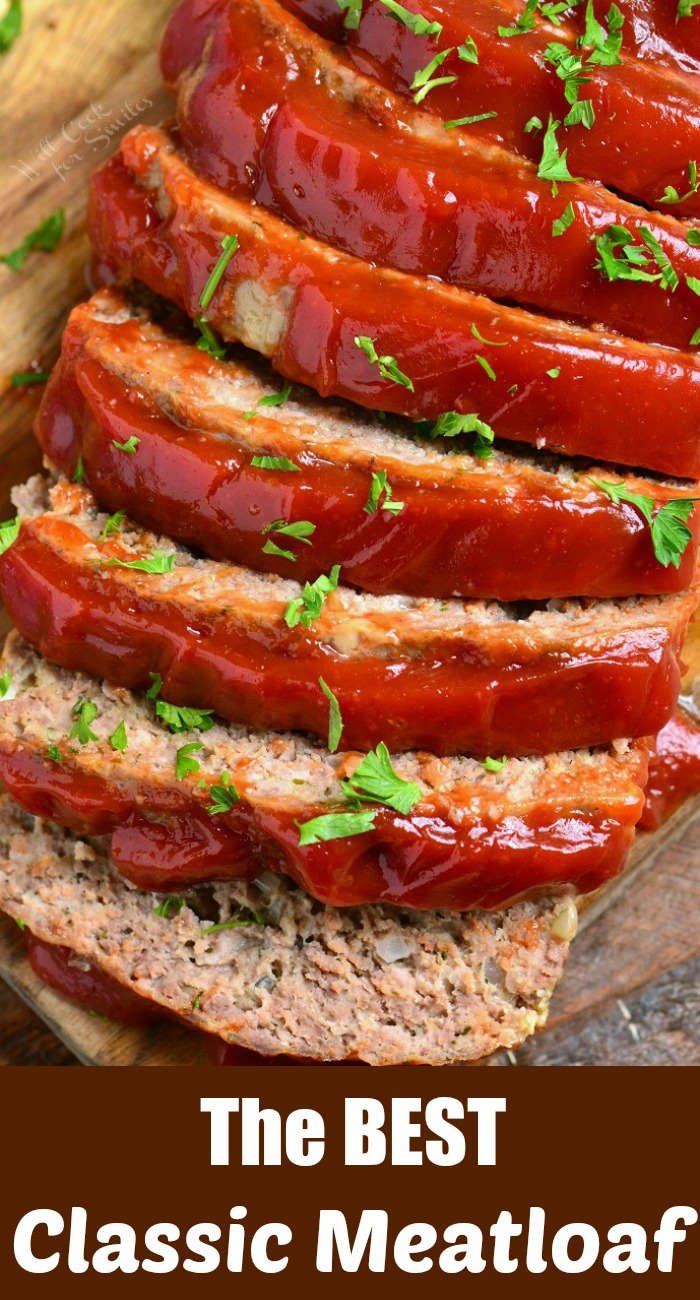 close view from the top of sliced meatloaf topped with ketchup mixture