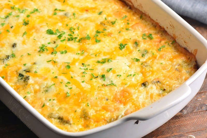 bake breakfast casserole at 350 for 45 minutes and add cheese on top