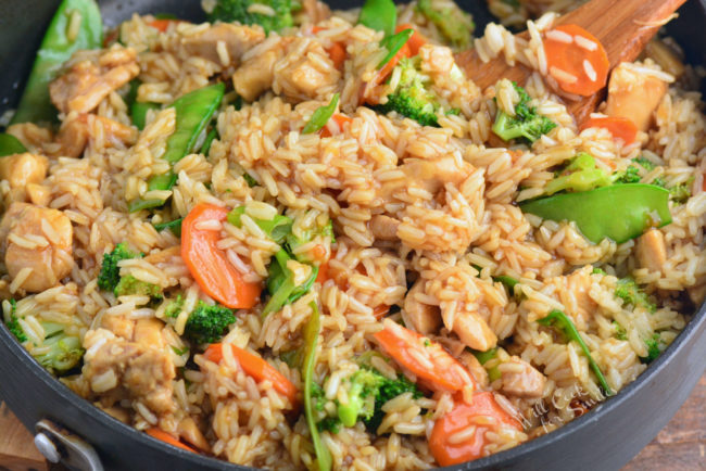 chicken teriyaki rice bowl in a pan