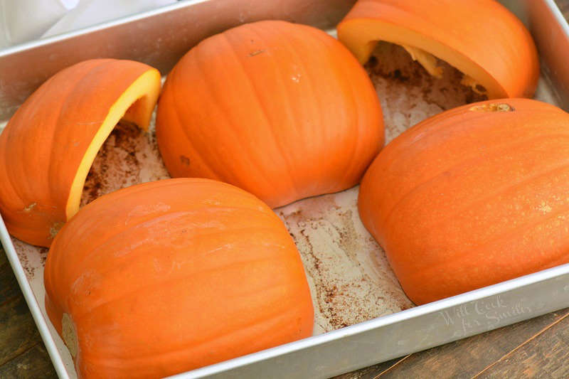 place pumpkins in a roasting pan
