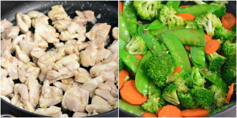 saute chicken and vegetables
