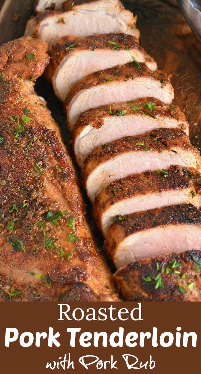 pork tenderloin sliced on a cutting board