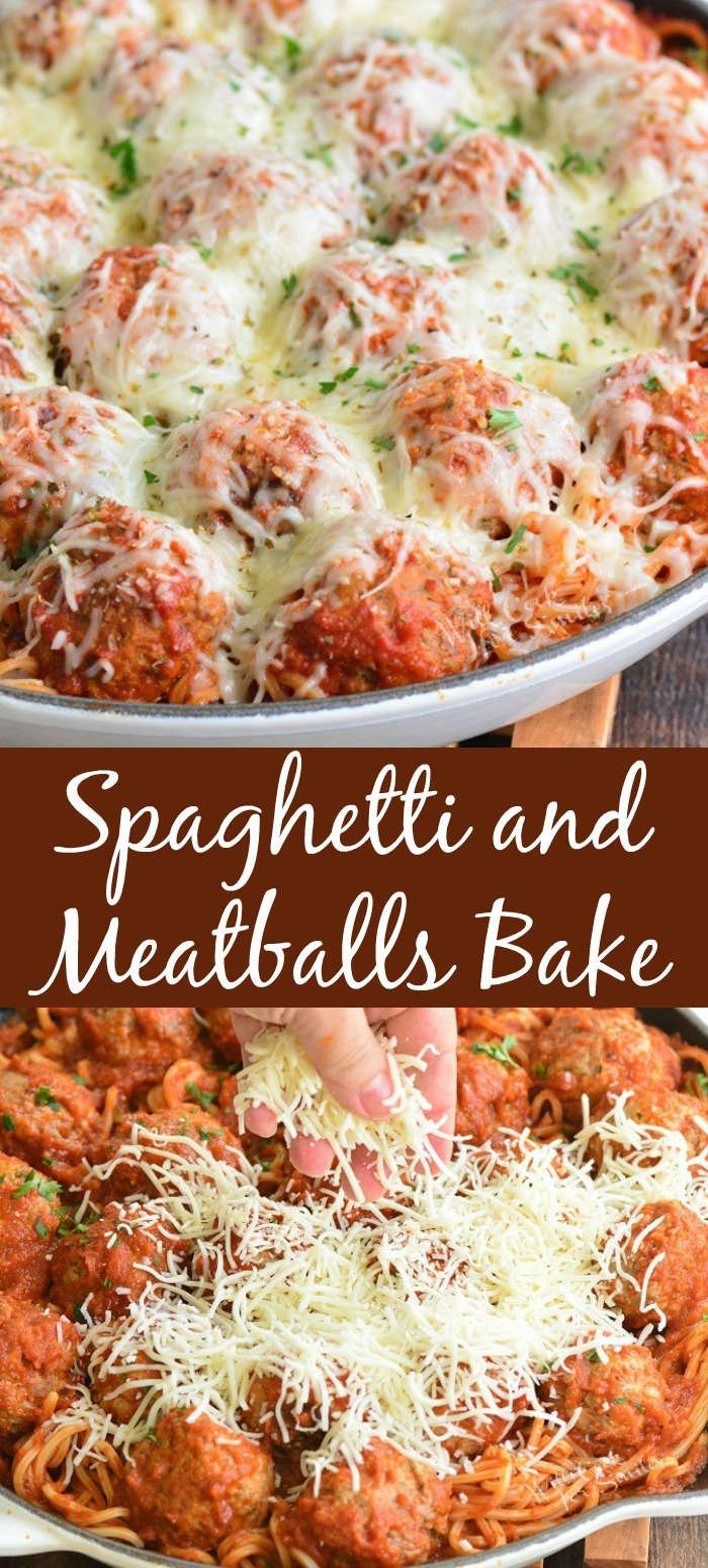 spaghetti and meatballs in a pan collage