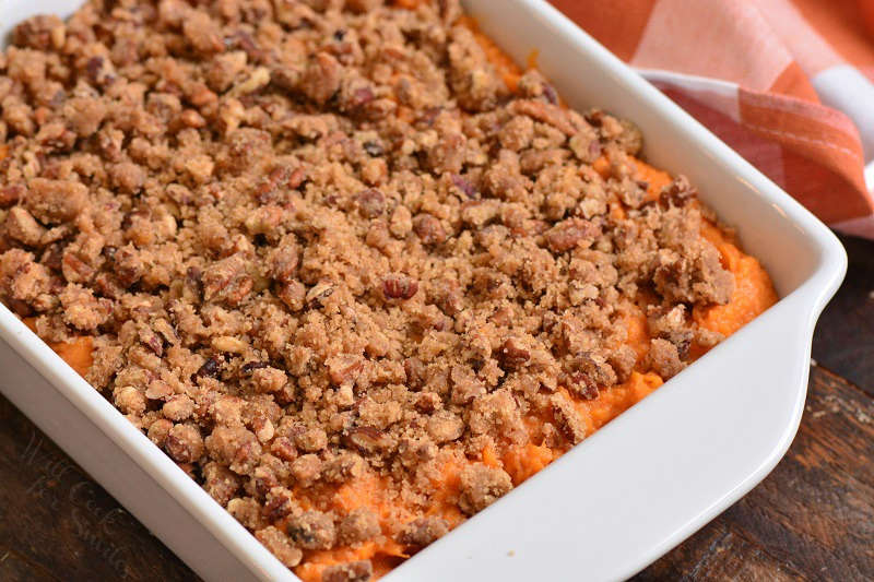 sweet potato mixture topped with pecan crunch topping