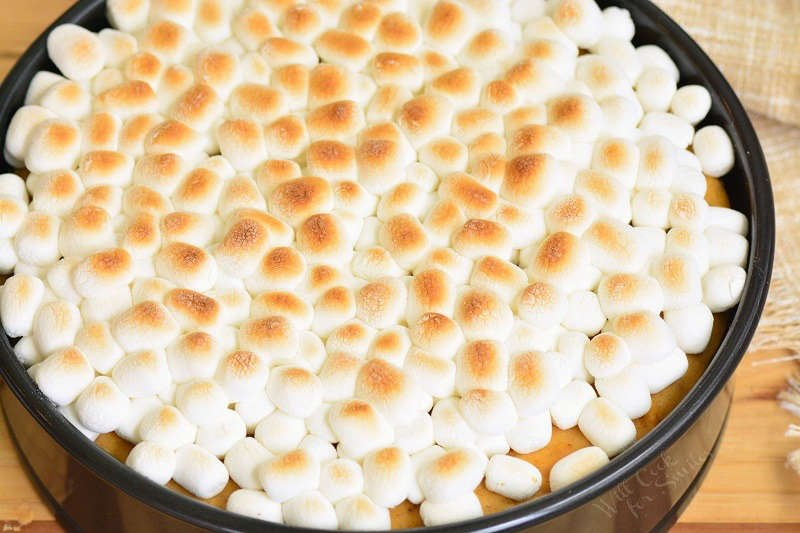 toasted marshmallows on the cheesecake