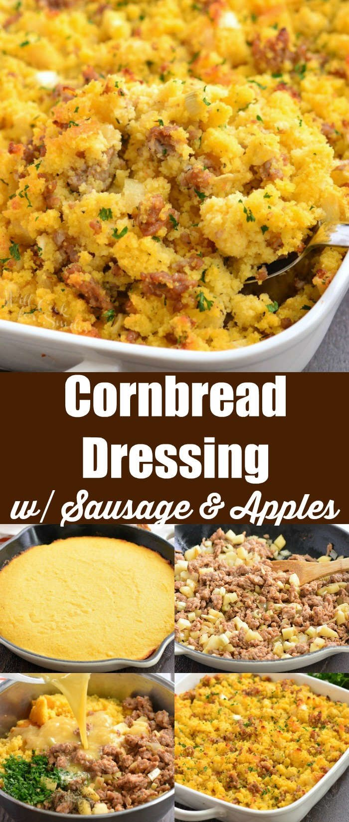 sausage cornbread dressing collage