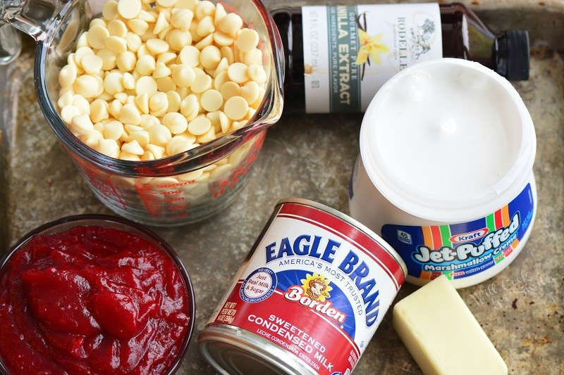 ingredients for cranberry white chocolate fudge