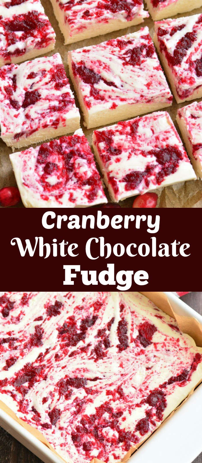 white chocolate cranberry fudge collage