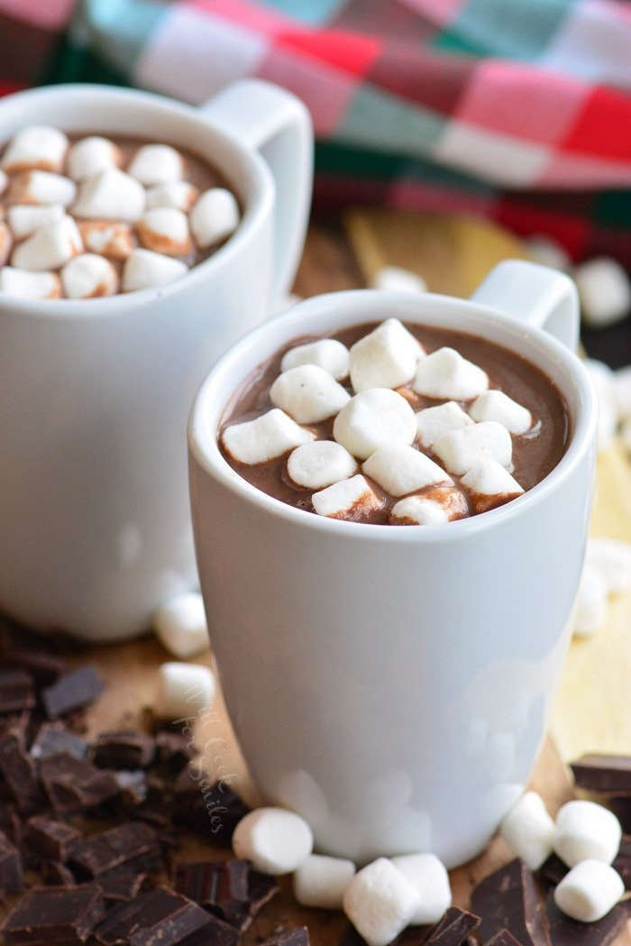 hot chocolate in cups with marshmallows