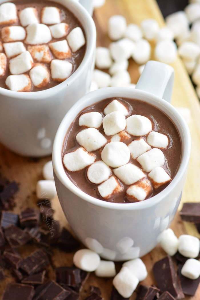 hot chocolate in a mug with marshmallows on top
