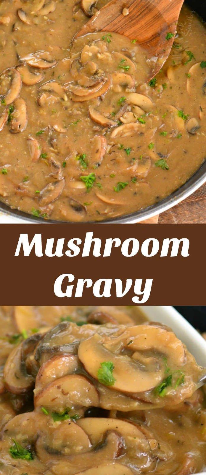mushroom gravy collage