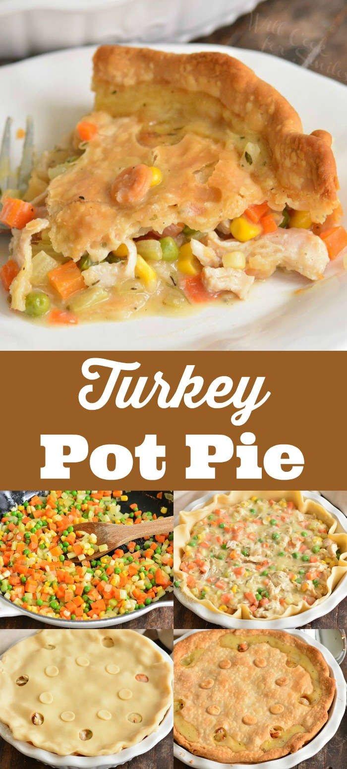 turkey pot pie collage