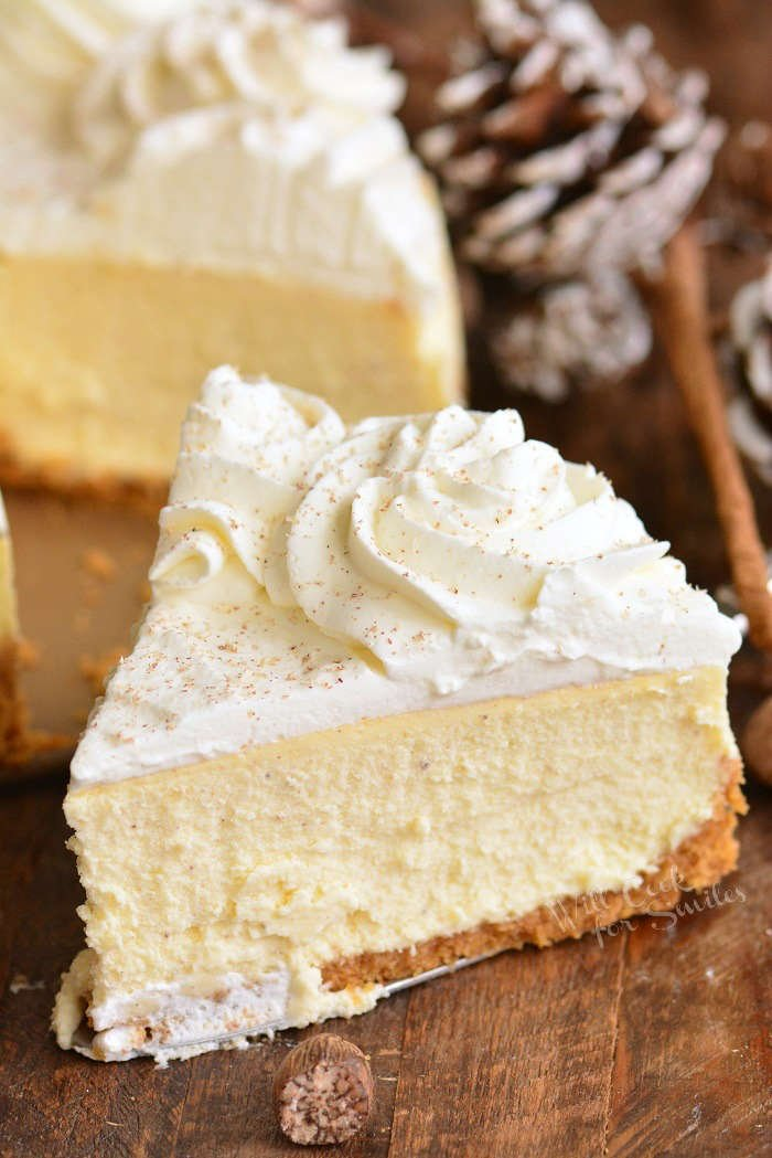 eggnog cheesecake slice