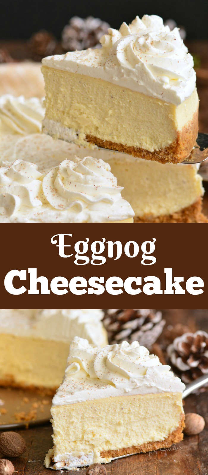 eggnog cheesecake collage