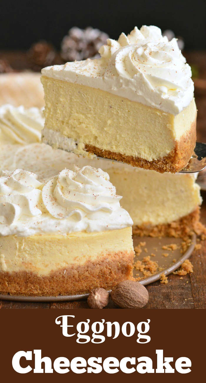 eggnog cheesecake with a slice being lifted out